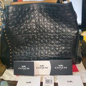 Coach Signature Leather Riveted Edie Black Bag